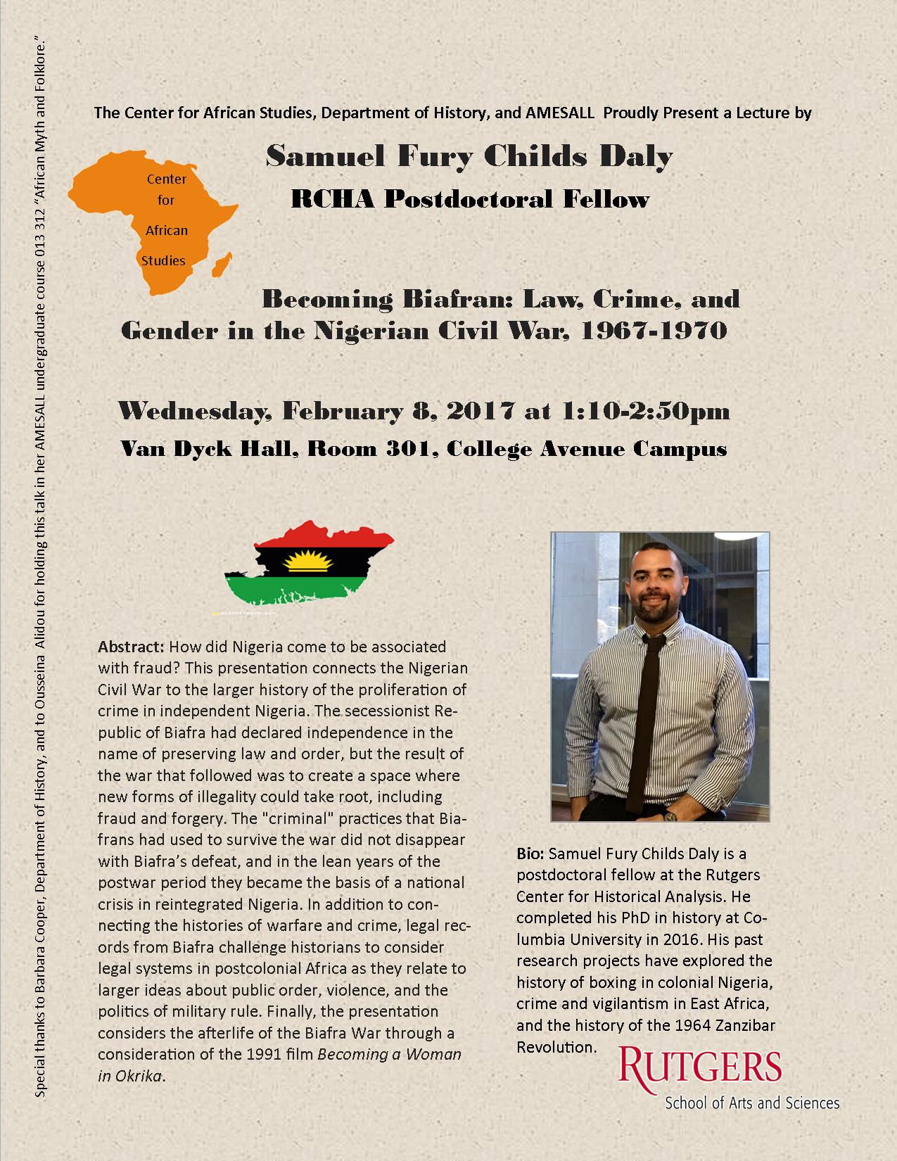 Sam Daly BiafraLecture Flyer