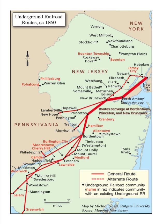 Underground Railroad New York Map.New Jersey Underground Railroad